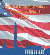 image of a cover for National Disability Policy: A progress Report 2014